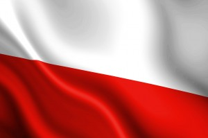 Polish flag waving in the wind